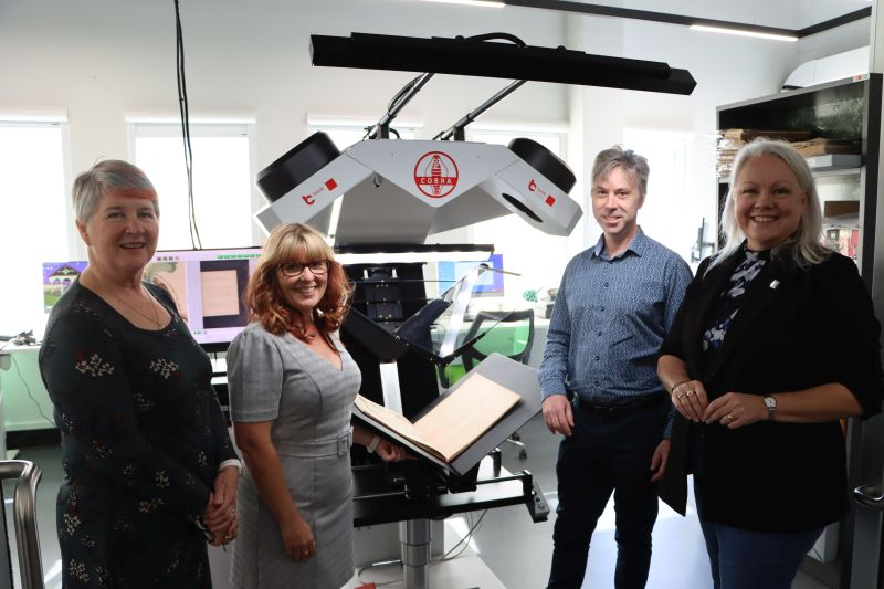 City of Newcastle Manager Libraries and Learning Suzie Gately, City of Newcastle Heritage Collections Digitisation Specialist Kerrie Shaw, State Library of NSW Manager of Public Library Services Cameron Morley and Councillor Carol Duncan in the newly opened DigiLab.