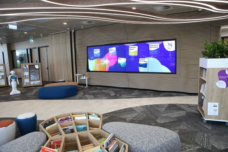 The 8m-wide Storywall in City of Newcastle's Digital Library.