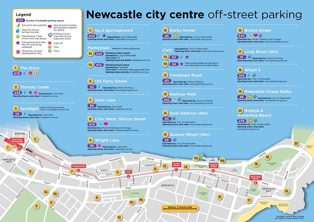 View the Newcastle city centre off-street parking map