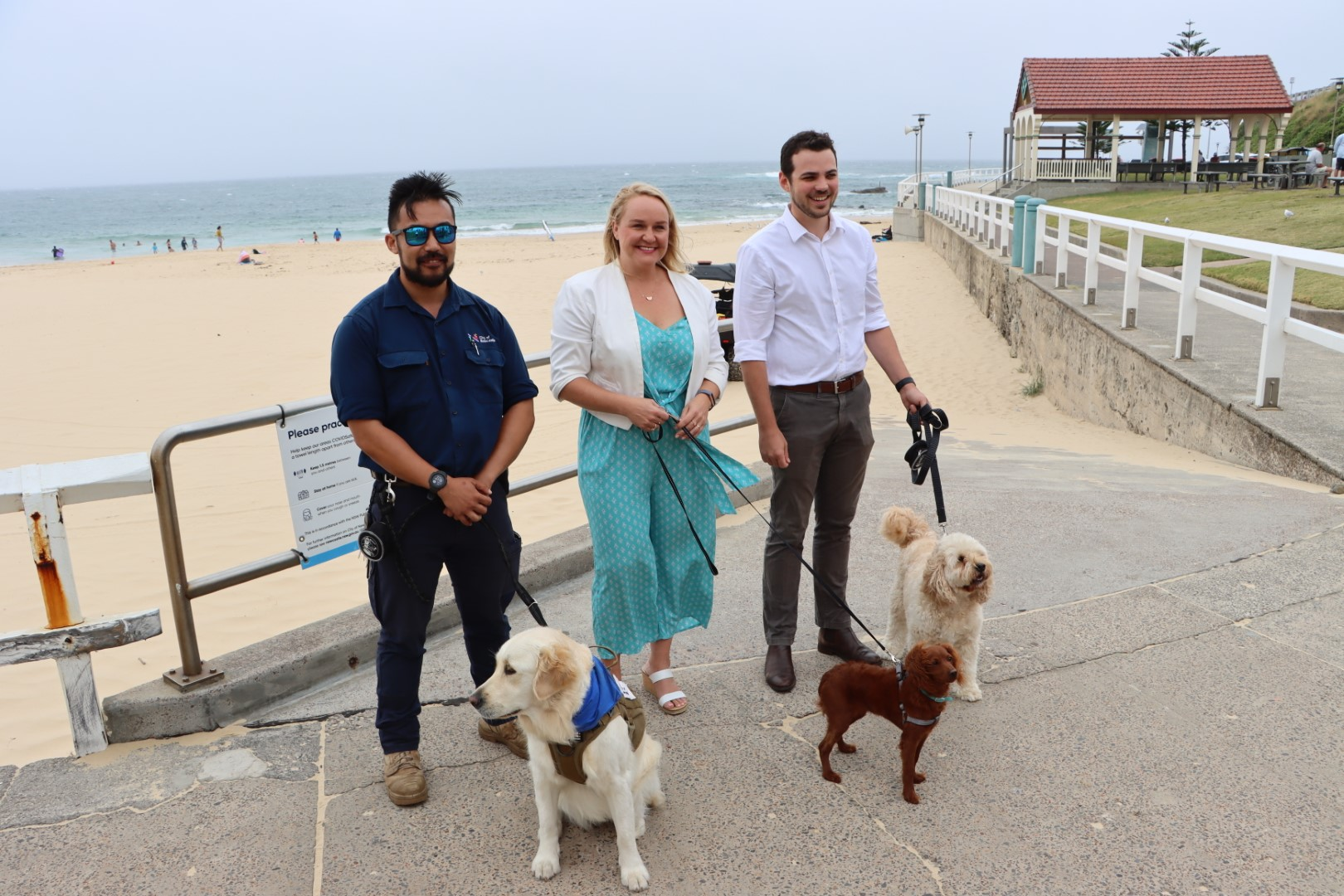 Bella-the-ranger-dog-with-Allan-Hong-Lord-Mayor-Nuatali-Nelmes-and-Deputy-Lord-Mayor-Declan-Clausen.JPG
