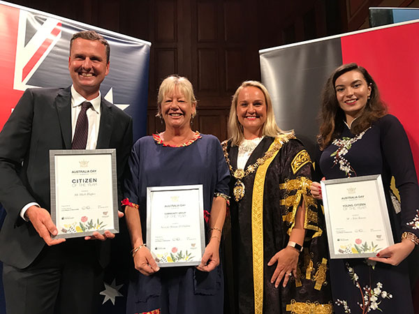 Mark Hughes - Citizen of the Year,  Irini Kassis - Young Citizen of the Year and NOVA for Women and Children - Community Group of the Year